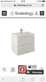 Wall mounted double drawer curved bathroom unit - Brand New In Box!! Gloss White - Evora