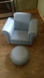 kids light blue chair and footstool