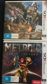 Nintendo 3DS Games - Metroid Samus returns and Monster Hunter 4 Ultimate.