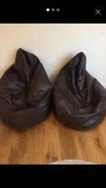 Large leather bean bags