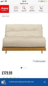 Cream double futon bed