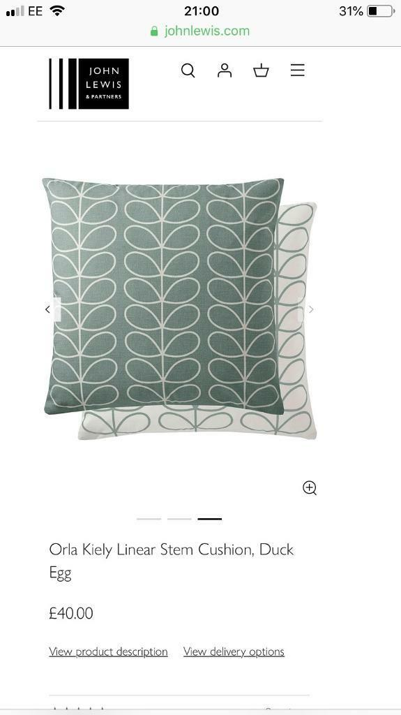 1 X Orla Kiely Linear Stem Cushion Duck Egg