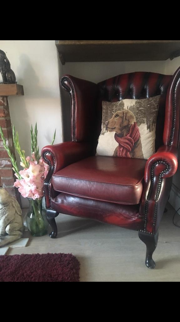 Ox blood leather Chesterfield Queen Anne wingback