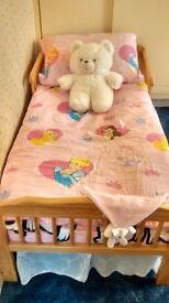 toddler bed with mattress duvet + duvet cover and pillowcase £50