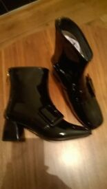 Brand new black patent ladies buckle boots size 3