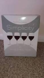Dartington red wine glasses x 4 brand new