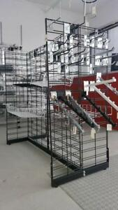 Gridwall Displays, Grillage Chrome, Noir, Blanc, Bases, Diamond Brackets