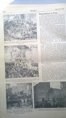 1928 42 Prag Hauseinsturz Bischofsgasse ....Zeitung ohne Beilagen