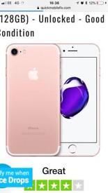 IPHONE 7 32GB ROSE GOLD £200 ONO