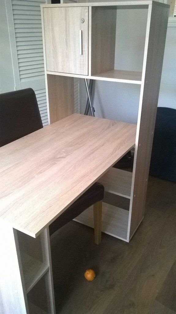 desk and bookcase combination in light wood