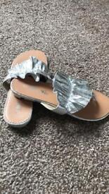 Silver summer sandals size 5