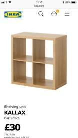 Ikea oak Kallax cube storage