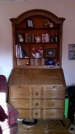 Vintage Writing Desk with Book Case / Cabinet