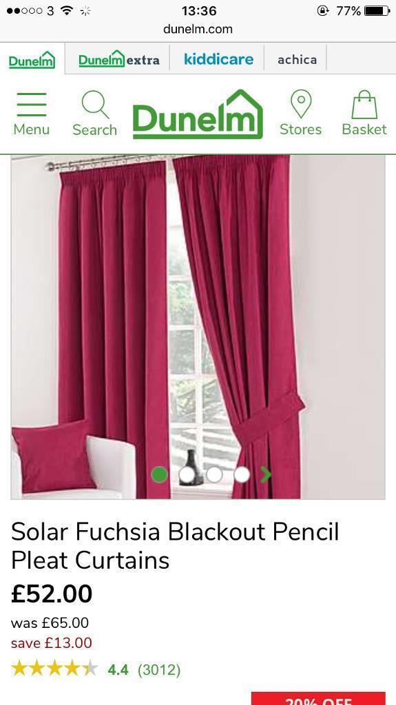 Dunelm Black Out Pencil Pleat Curtains Fuschia