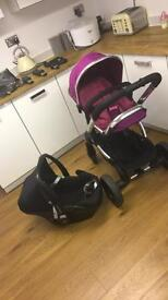 Icandy peach 3 pram and maxi cosi pebble car seat