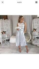 White and grey stripe jumpsuit