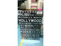 NEW BLACK AND WHITE LA HOLLYWOOD DESIGN CANVAS PRINT WALL PICTURE