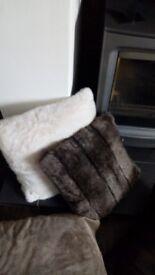 Helen Moore faux fur cushions