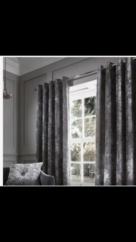 CRUSHED VELVET CURTAINS SILVER GREY 66 90
