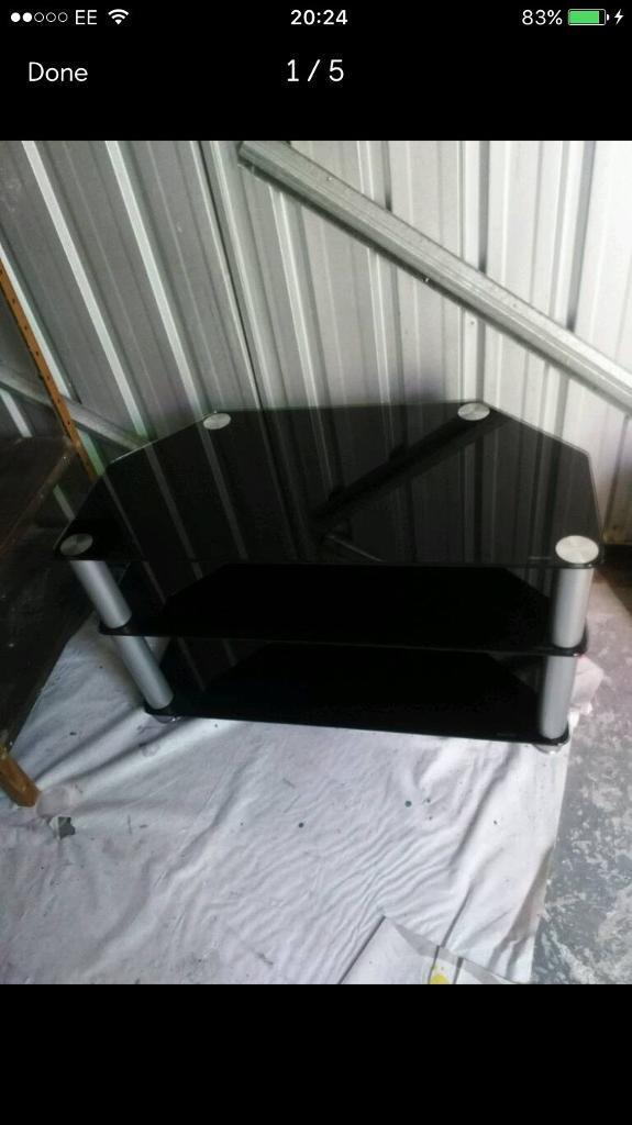 CLEARANCE black glass Tv stand FREE DELIVERY PLYMOUTH AREA