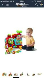 V tech baby toddler push and ride red Train with blocks and phone