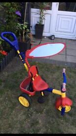 Kiddies Trike with Sun Canopy and Parent Handle