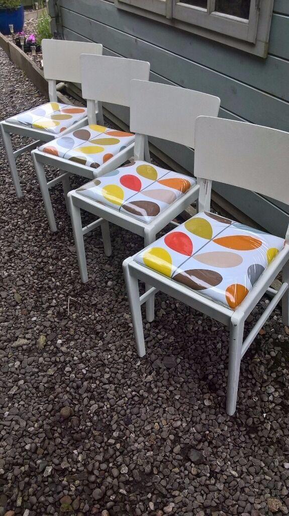 4 Retro Dining Chairs White Orla Kiely Stem Fabric Ing