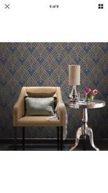 Art Deco blue gold wallpaper