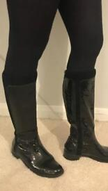 Dune knee high boots size 5 patent and suede