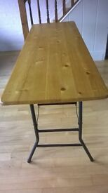 Long pine trestle table with metal industrial legs (collapsable)