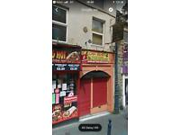 Vacant shop and flat to let