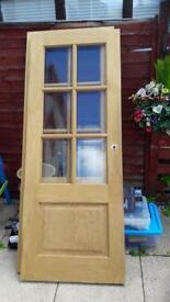 2x solid oak internal doors with veneered glass