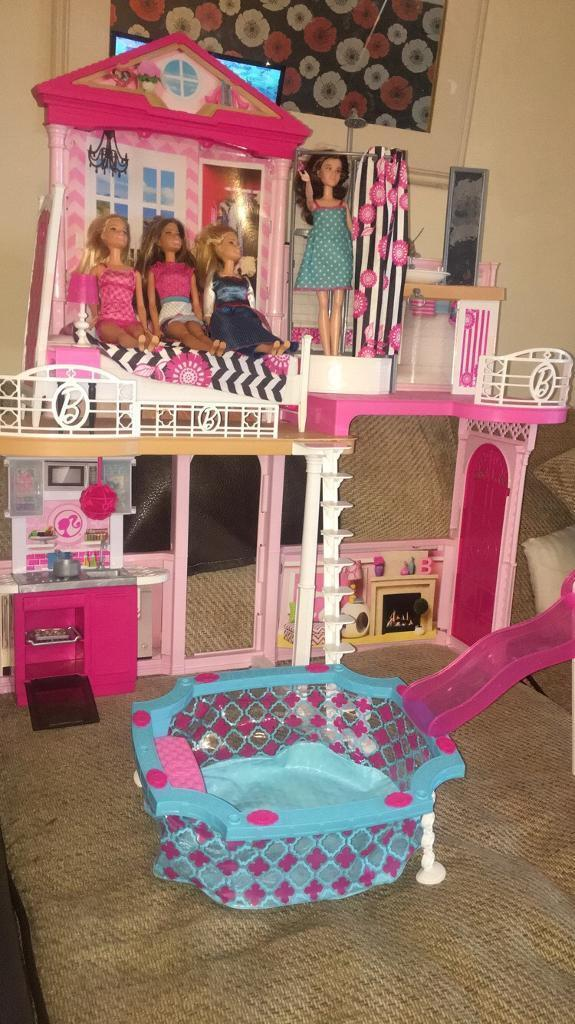 Barbie Dream House With 4 Dolls And Pool In Swansea Gumtree