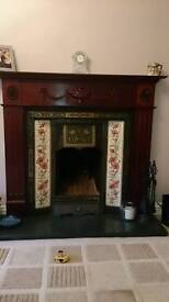 Cast iron working fire-place with granite hearth