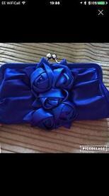 Royal Blue silk Clutch bag
