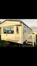 Cheap 3 bedroom double glazed & central heated caravan with decking in Ashington near Newcastle