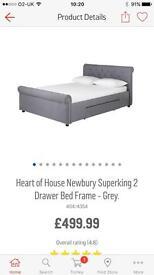 Beautiful superking bed frame -grey fabric