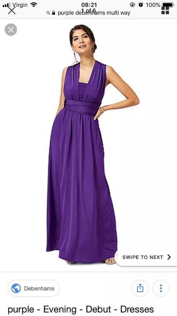 Debenhams purple multiway, full length, ball gown, prom, bridesmaid ...
