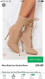 Nude lace up boots size 5