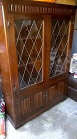 Wooden Glazed and Leaded China Cabinet with Cupboard