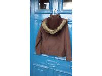 Ladies coat, brown, UK10, detachable hood, collect Porthtowan
