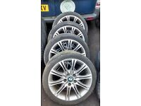 "GENUINE BMW MV2 STAGGARED 18"" ALLOYS WHEEL WITH TYRES ALL GOOD AND LEGAL MINOR TLC"