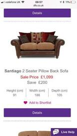 Santiago 2 seater DFS Sofa x 2 and large footstool.