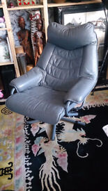 Scandinavian Leather Recliner Swivel Chair and Footstool