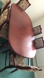 Jarrah wood dining table and chairs