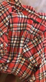 Topshop cropped checked shirt Uk size 12
