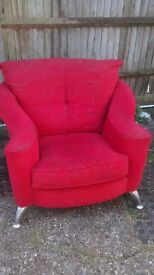 RED RETRO LOOK ARM CHAIR CHROME LEGS IDEAL MAN CAVE/SHED.