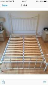 Metal double bed frame, cream colour.