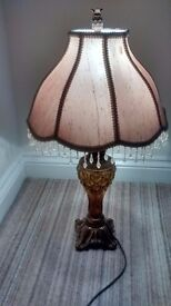 AMBER GLASS TABLE LAMP + SHADE