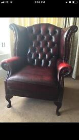 Chesterfield Wing Back Oxblood Red armchair